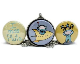 I Miss Pluto Magnetic Necklace Set - Alien Pendant - Spaceship Necklace - Astronomy Pendant - Astronaut Necklace