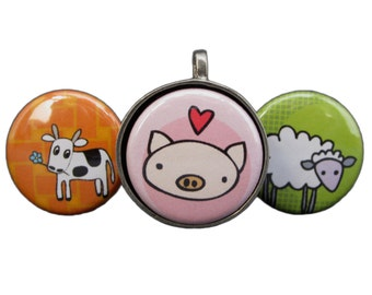 Farm Friends Necklace Set - Pig Necklace - Cow Necklace - Sheep Necklace - Set of Three Pendants with Farm Animals