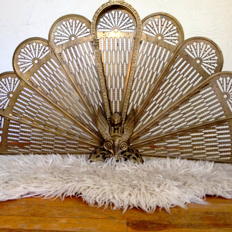 Brass Fireplace Screen Art Deco Decor Peacock Sunburst