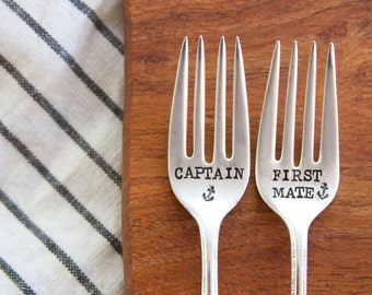 Captain and First Mate Matching Forks - Wedding Cake Fork Set  - Hand Stamped - Vintage Nautical Anchor Wedding -
