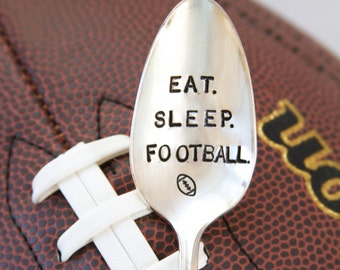 Eat. Sleep. Football. - Stamped Spoon for Men - Football Gift - Vintage Gift - Fathers day gift, football season, gift for guys, etsy dudes