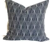 Decorative Pillow, Accent Pillow, Throw Pillow, Pillow Cover, 18x18 20x20 12x20 Lumbar Pillow, Waverly Strands Navy and White Pillow Cushion