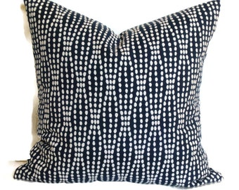 Decorative Pillow, Accent Pillow, Throw Pillow, Pillow Cover, 18x18 20x20 12x20 Lumbar Pillow, Waverly Strands Navy and White Pillow Cushion