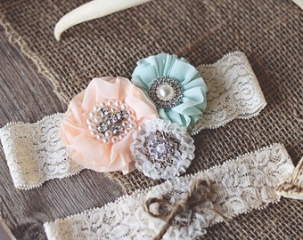 VINTAGE WEDDING GARTER inspired / Peach Seafoam Twine Antique ivory lace