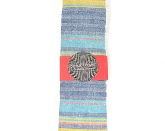 Wedding Mens Skinny Necktie  blue, purple, yellow striped chambray-Laid - Back necktie