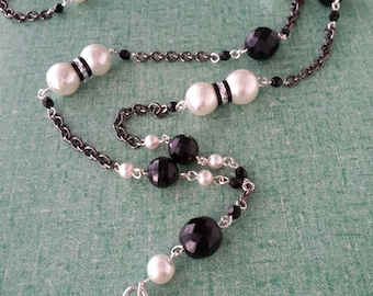 """I-D Lanyard, Name-tag Holder.   Faux Pearls.   38"""""""