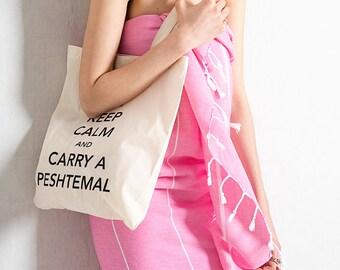 Pink Turkish Towel Peshtemal for Bath & Beach Fouta