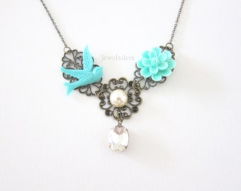 Necklace for Wedding Bridal Necklace with Flowers Bird Pearl Rhinestone Elegant Necklace for Bride Bridesmaids Mother of Bride Gift SB