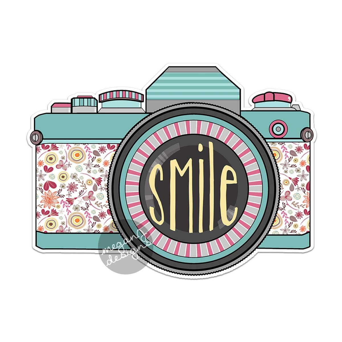 Bumper sticker api design -  Retro Camera Decal Colorful Vintage Retro Camera Bumper Sticker Laptop Decal Teal Vintage Flowers Smile