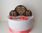 Celtic Knot Heart Burned Wood Wedding Cake Topper Set with your personalized custom letters