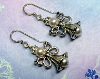 Angel Earrings, Christmas Earrings, Holiday Earrings, Swarovski Earrings, Angel Jewelry, Christmas Jewelry, Holiday Jewelry, Dangle Earrings