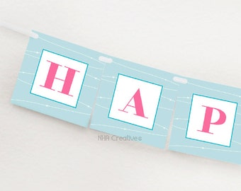 Happy Birthday Ice Skating Banner - Figure Skates - DIY Printable Digital File