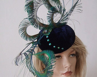 "Navy Blue Velvet Curled Peacock Swords Large Button Hat Headpiece Fascinator Blue Green ""Magalie"" Mother of the Bride Winter Wedding"