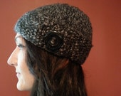 Black Chunky Button Flap Hat