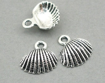 Sea Shell 3D Charms Antique Silver 6pcs base metal beads 16X18mm CM0764S