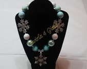The Cold Never Bothered Me Anyway - Chunky bead necklace with snowflakes