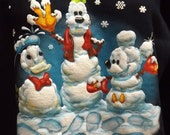 Ugly Christmas Sweater Sweatshirt Blue Walt Disney World snowmen Mens small