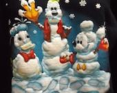 Ugly Christmas Sweater Sweatshirt Blue Walt Disney World snowmen Mens small