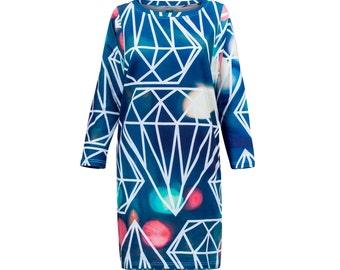 Kimono dress with geometric diamonds and lights pattern made of organic cotton