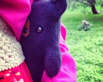 Brave Bear - handmade black bear stuffed animal