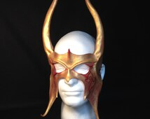 Red Gold Leather Viking Mask Thor Costume Loki Horns Viking cosplay Loki Headpiece Comicon Viking helm Halloween Warrior Mask Leather Horns
