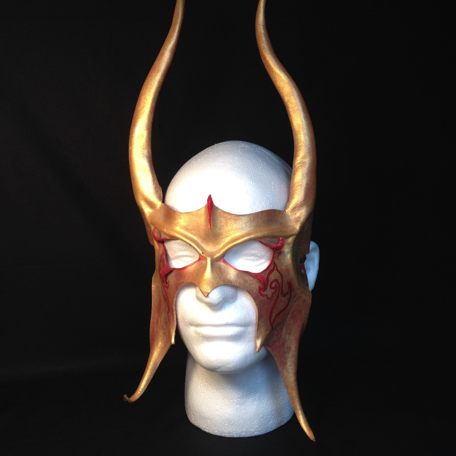 Uncategorized Viking Masks red gold leather viking mask thor costume loki horns viking