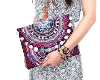 Coins Clutch Embroidered Fabric Pink Color Thailand (BG306WC-PICAT)