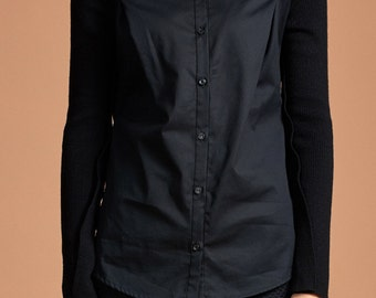 Women Blouse with Merino Wool Sleeve - Women Shirt - Black Shirt - Free Shipping