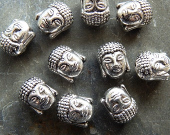 11X9mm Antique Silver Buddha Charm Beads, 10 PC (INDOC333)