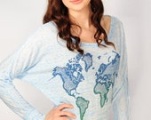 World Map long sleeve dolman slouchy shirt. light blue marble and navy/green water based ink