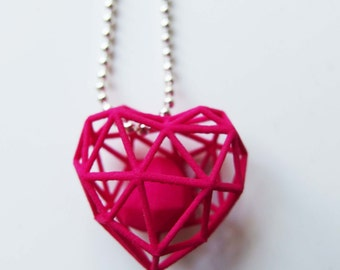 3D printed wireframe heart necklace - Pink