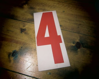 Vintage Metal Number Four or Five Price Sign Number 4 or Number 5 Double Sided Gas Station Old Industrial Aged White Red Address Sign Plate