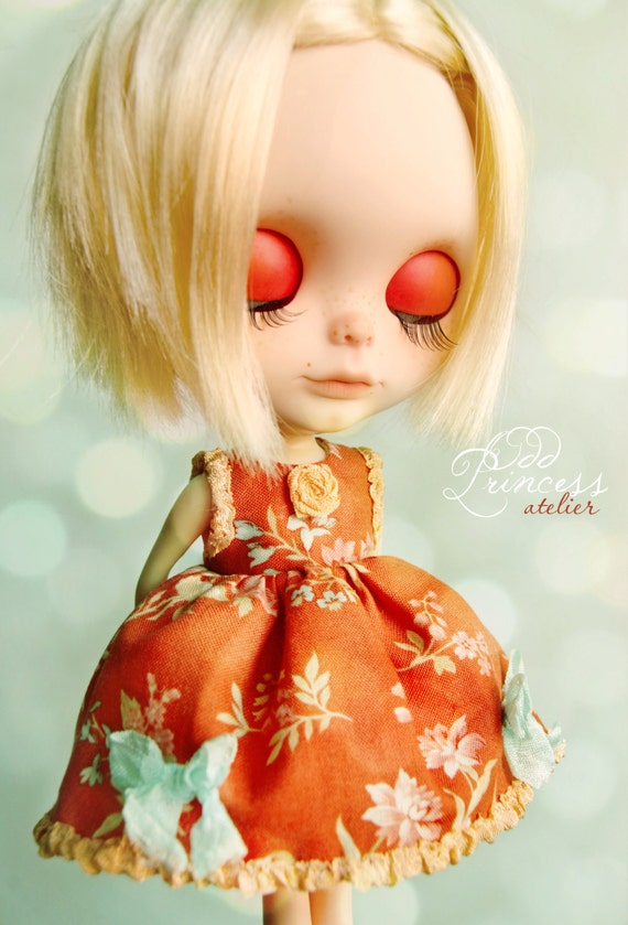FLOWER DELIGHT Romantic Ooak Red Flower Dress For BLYTHE By Odd Princess Atelier, Vintage Style, Hand Stitched, Special Dress