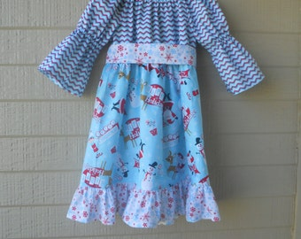 SALE: 4T Santa Holiday Dress with Sash, Size 4t, Ready to Ship, Christmas Dress, Peasant Dress