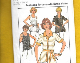 Vintage 1977 Simplicity 7900 Misses'  Cardigan And Top, Size Bust 46 to 52, UNCUT