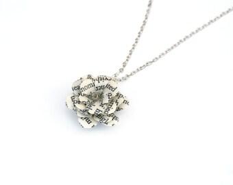 "Book Flower Necklace, Bookworm Spring Gift - Alice in Wonderland, Harry Potter, Jane Eyre - 1"" flower, 16 inch chain"