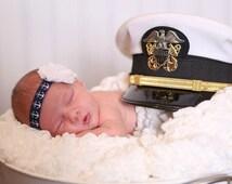 NAUTICAL Baby Headband. Nautical Newborn Headband. Navy Blue Anchor Headband.  Baby Anchor Headband