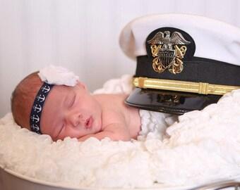 Nautical Baby Headband. Nautical Newborn Headband. Navy Blue Anchor Headband.  Baby Anchor Headband. Military Baby Headband.