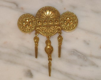 Vintage Ornate Pin Brooch Gold Metal with Drop Dangles Costume Jewelry BEAUTIFUL