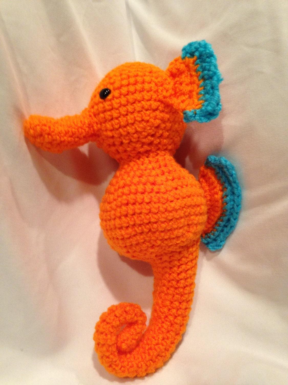 Orange Amigurumi Seahorse by FurryDragonCrafts on Etsy