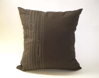 Faux bois / woodgrain embroidered pillow cover - organic cotton / upcycled / eco-friendly - 18""