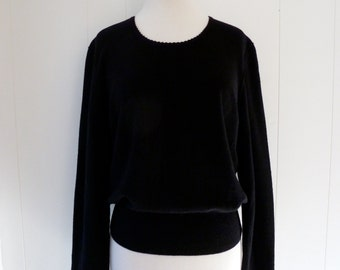 Sonia Rykiel Paris Little Black Sweater Wool Angora Top Shirt 44 M L