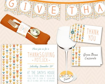 Thanksgiving Dinner Party Decoration and Invitation Set