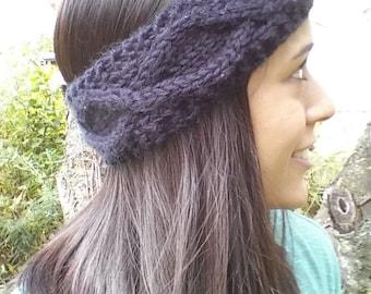 Black Cable Knit Headband Ear Warmer