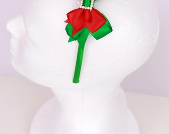 READY TO SHIP: Christmas or Holiday Headband - Elegant Elf - Red and Green - Fits toddler to adult - Cutie Patootie Designz