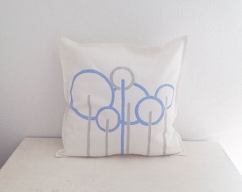 "Geometric trees. Midcentury modern throw pillow. Hand painted cotton pillow cover. White, light blue and grey colored 20"" x 20"""