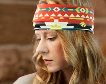 Wide Aztec Headband, Adult Headband Womens Headband Tribal Workout Head Bands, Exercise Headband Bohemian Aztec Hair Wrap, Boho Head wrap