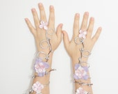 Silver pink and lavender fairy arm cuffs