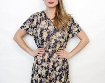 Vintage Drop Waist Lightweight Semi Sheer Floral Summer Dress