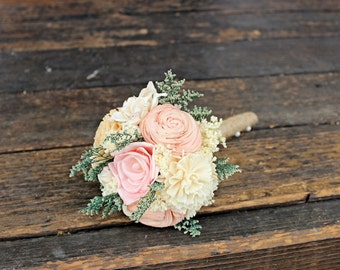 Romantic Wedding Bouquet - Toss Alternative Natural Bridesmaid Bouquet, Keepsake Wood Bouquet, Shabby Chic Rustic Wedding